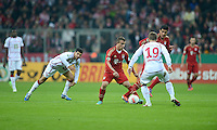 FUSSBALL  DFB POKAL       SAISON 2012/2013 FC Bayern Muenchen - 1 FC Kaiserslautern  31.10.2012 (v.li.) Enis Hajri (1. FC Kaiserslautern) gegen Xherdan Shaqiri (FC Bayern Muenchen) gegen Denis Linsmayer (1. FC Kaiserslautern) gegen Emre Can (FC Bayern Muenchen)