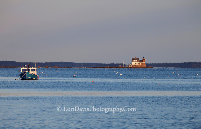 Rockland Breakwater with Boat #LH49