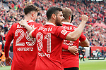11.05.2019, BayArena, Leverkusen, GER, 1. FBL, Bayer 04 Leverkusen vs. FC Schalke 04 ,<br />  <br /> DFL regulations prohibit any use of photographs as image sequences and/or quasi-video<br /> <br /> im Bild / picture shows: <br /> Torjubel / Jubel / Jubellauf,    Kai Havertz (Leverkusen #29), Lars Bender (Leverkusen #8), Kevin Volland (Leverkusen #31),  1:0<br /> <br /> Foto &copy; nordphoto / Meuter