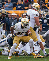 Notre Dame running back CJ Prosise (20). The Notre Dame Fighting Irish football team defeated the Pitt Panthers 42-30 on Saturday, November 7, 2015 at Heinz Field, Pittsburgh, Pennsylvania.