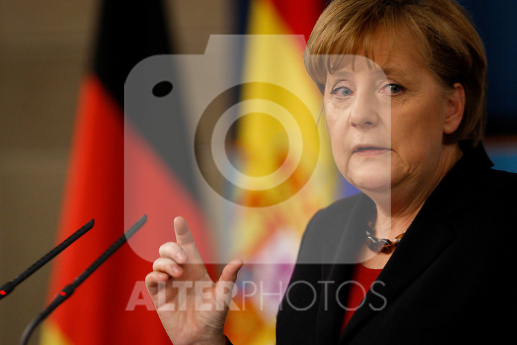 Spain's Prime minister and Angela Merkel, german government Chancellor at Press conference after XXIII  Spain-Germany summit on February 3, 2011 at La Moncloa palace, in Madrid...Photo: Juan Carlos Rojas  / ALFAQUI