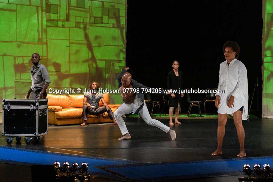 "Edinburgh, UK. 08.08.2019. Faso Danse Theatre/ Serge Aime Coulibaly presents ""Kalakuta Republik"", choreographed by Aerge Aime Coulibaly, at the Royal Lyceum Theatre, as part of the Edinburgh International Festival.  The dancers are: Marion Alzieu, Serge Aime Coulabily, Adonis Nebie, Sayouba Segue, Ahmend Soura, Ida Faho. Photograph © Jane Hobson."
