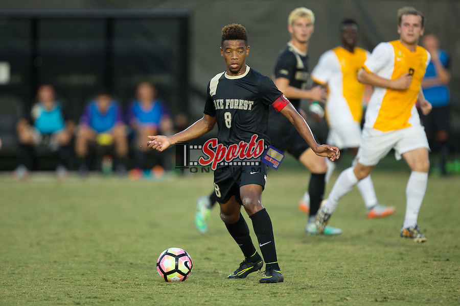 Jacori Hayes (8) of the Wake Forest Demon Deacons controls the ball during first half action against the Appalachian State Mountaineers at Spry Soccer Stadium on September 6, 2016 in Winston-Salem, North Carolina.  The Demon Deacons defeated the Mountaineers 3-0.   (Brian Westerholt/Sports On Film)