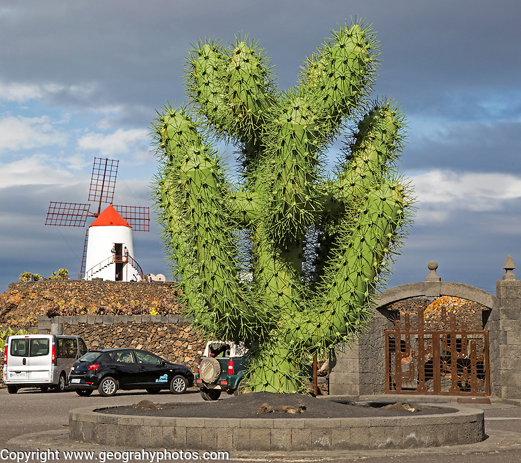 Giant green cactus sculpture outside Jardin de Cactus, César Manrique, Guatiza, Lanzarote, Canary Islands, Spain
