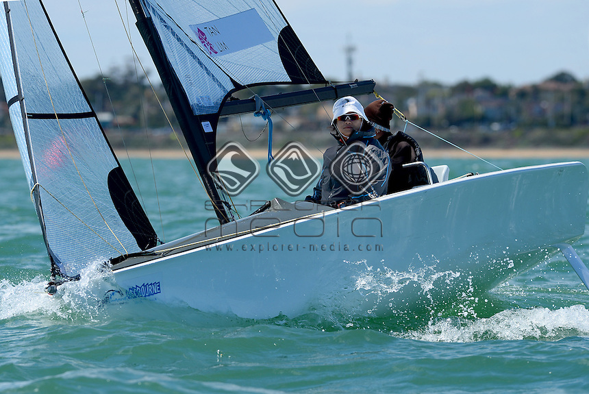 Skud 18 / Jovin TAN &amp; Desiree LIM (SIN)<br /> 2013 ISAF Sailing World Cup - Melbourne<br /> Sail Melbourne - The Asia Pacific Regatta<br /> Sandringham Yacht Club, Victoria<br /> December 1st - 8th 2013<br /> &copy; Sport the library / Jeff Crow