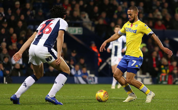 Leeds United's Kemar Roofe tries to get past West Bromwich Albion's Ahmed Hegazy<br /> <br /> Photographer David Shipman/CameraSport<br /> <br /> The EFL Sky Bet Championship - West Bromwich Albion v Leeds United - Saturday 10th November 2018 - The Hawthorns - West Bromwich<br /> <br /> World Copyright © 2018 CameraSport. All rights reserved. 43 Linden Ave. Countesthorpe. Leicester. England. LE8 5PG - Tel: +44 (0) 116 277 4147 - admin@camerasport.com - www.camerasport.com