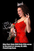 Miss Penn State 2002 Emily Wills waves to the crowd on January 26, 2002. Photo/Craig Houtz