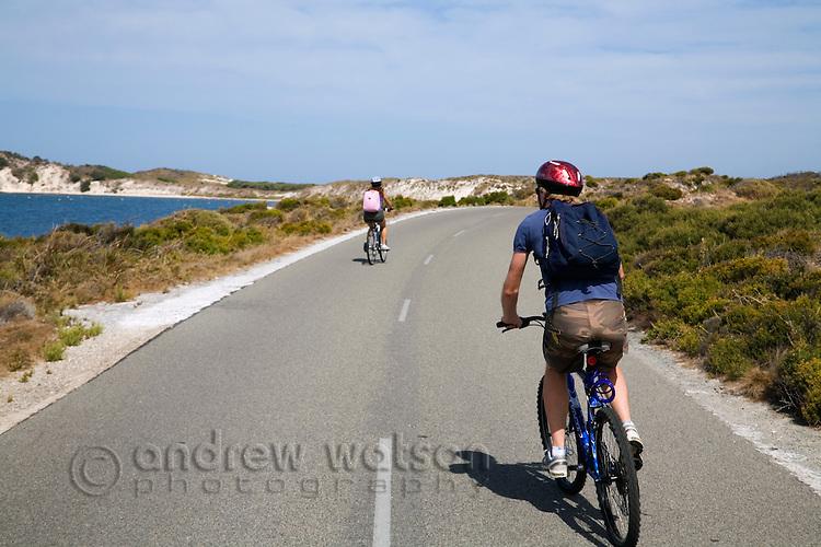 Exploring Rottnest Island by bicycle.  Rottnest Island, Western Australia, AUSTRALIA.