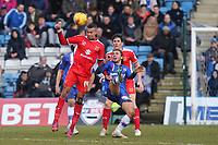 Dele Alli of MK Dons heads the ball away under pressure from Gillingham's Bradley Dack during Gillingham vs MK Dons, Sky Bet League One Football at the MEMS Priestfield Stadium on 14th February 2015