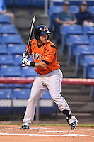 Bowie Baysox outfielder Ronald Bermudez (17) at bat during a game against the Binghamton Mets on August 3, 2014 at NYSEG Stadium in Binghamton, New York.  Bowie defeated Binghamton 8-2.  (Mike Janes/Four Seam Images)