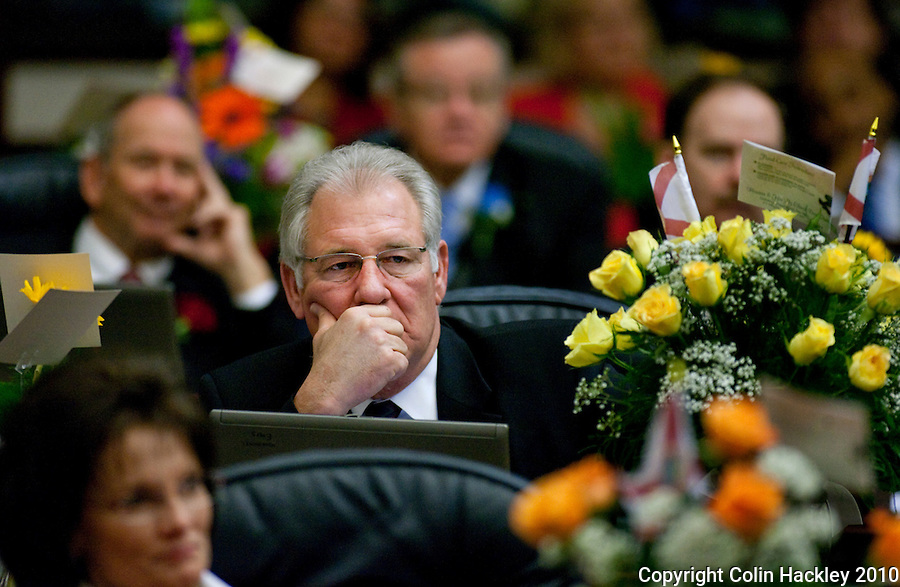 TALLAHASSEE, FLA. 3/2/10-OPENING DAY CH07-Rep. Greg Evers, R-Baker, listens to remarks during the opening day of the legislative session, Tuesday at the Capitol in Tallahassee...COLIN HACKLEY PHOTO