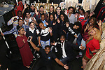 "Justin Dine Bryant with Highschool student performers during a Q & A before The Rockefeller Foundation and The Gilder Lehrman Institute of American History sponsored High School student #eduHam matinee performance of ""Hamilton"" at the Richard Rodgers Theatre on May 9, 2018 in New York City."