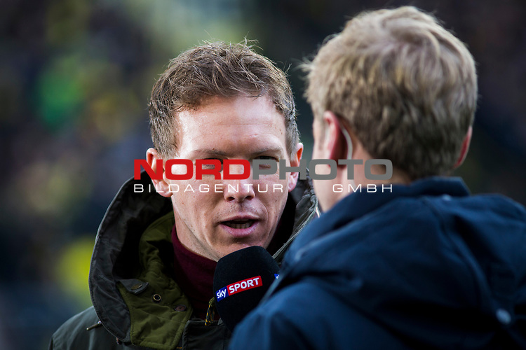 09.02.2019, Signal Iduna Park, Dortmund, GER, 1.FBL, Borussia Dortmund vs TSG 1899 Hoffenheim, DFL REGULATIONS PROHIBIT ANY USE OF PHOTOGRAPHS AS IMAGE SEQUENCES AND/OR QUASI-VIDEO<br /> <br /> im Bild | picture shows:<br /> Julian Nagelsmann (Trainer Hoffenheim) im Interview vor dem Spiel, <br /> <br /> Foto © nordphoto / Rauch