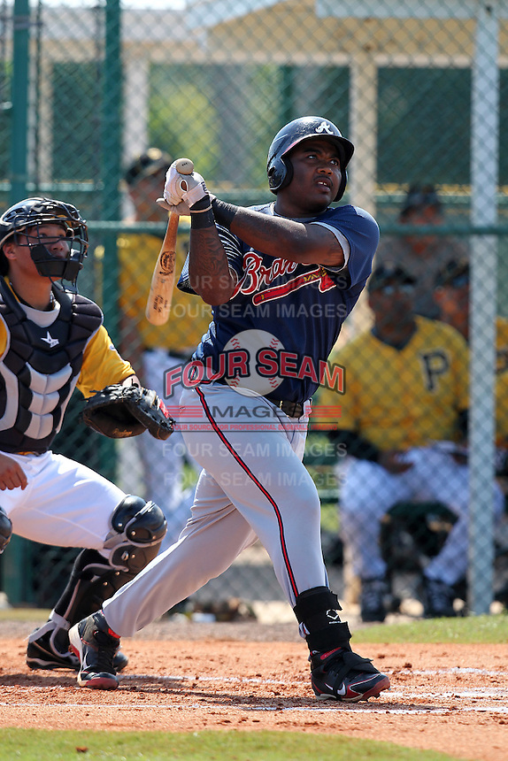 Atlanta Braves first baseman William Beckwith #27 during an Instructional League game against the Pittsburgh Pirates at Pirate City on October 14, 2011 in Bradenton, Florida.  (Mike Janes/Four Seam Images)
