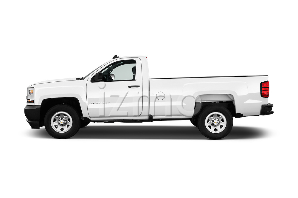 Car Driver side profile view of a 2016 Chevrolet Silverado 1500 1WT Regular Cab Long Box 3 Door Pick-up Side View