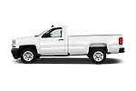Car Driver side profile view of a 2018 Chevrolet Silverado 1500 1WT Regular Cab Long Box 3 Door Pick-up Side View