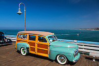 Classic Woodie Car On The San Clemente Pier California