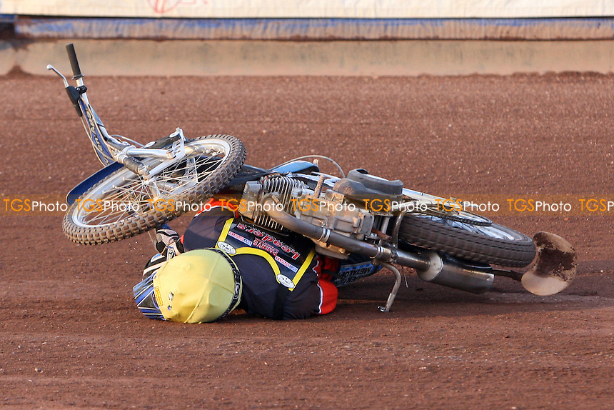 Heat 6: Jesper Kristiansen (yellow) gets in a tangle and crashes out - Sky Sports Elite League Speedway at Arena Essex Raceway, Purfleet, Essex - 24/06/09- MANDATORY CREDIT: Gavin Ellis/TGSPHOTO - Self billing applies where appropriate - 0845 094 6026 - contact@tgsphoto.co.uk - NO UNPAID USE.