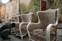 Restoring furniture in the antique area of Istanbul, Cukurcuma