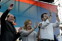 Roma, 19 Ottobre 2019<br /> Silvio Berlusconi,Matteo Salvini, Giorgia Meloni.<br /> Orgoglio italiano, manifestazione della Lega e del centro destra a San Giovanni, contri il governo