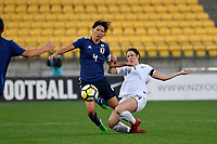 Japan&rsquo;s Saki Kumagai and Ferns' Emma Rolston in action during the  International Football - Football Ferns v Japan  at Westpac Stadium, Wellington, New Zealand on Sunday 10 June 2018.<br /> Photo by Masanori Udagawa. <br /> www.photowellington.photoshelter.com