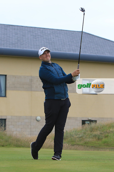Colm Campbell Jnr (Warrenpoint) on the 17th tee during Round 2 of the North of Ireland Amateur Open Championship 2019 at Portstewart Golf Club, Portstewart, Co. Antrim on Tuesday 9th July 2019.<br /> Picture:  Thos Caffrey / Golffile<br /> <br /> All photos usage must carry mandatory copyright credit (© Golffile | Thos Caffrey)
