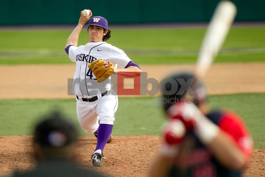 The University of Washington baseball team competes against Gonzaga University at Husky Ballpark  in Seattle, Wash. on Tuesday April 10, 2012.(Photo by Scott Eklund /Red Box Pictures) Joshua Fredendall.