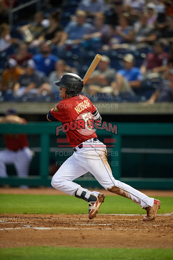 State College Spikes right fielder Lars Nootbaar (55) follows through on a swing during a game against the West Virginia Black Bears on August 30, 2018 at Medlar Field at Lubrano Park in State College, Pennsylvania.  West Virginia defeated State College 5-3.  (Mike Janes/Four Seam Images)