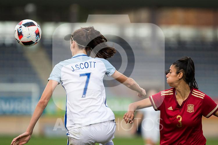 England's Jill Scott and Spain's Leila Ouahabi during the frendly match between woman teams of  Spain and England at Fernando Escartin Stadium in Guadalajara, Spain. October 25, 2016. (ALTERPHOTOS/Rodrigo Jimenez)