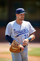 Pensacola Blue Wahoos first baseman Brian O'Grady (21) during a game against the Mobile BayBears on April 26, 2017 at Hank Aaron Stadium in Mobile, Alabama.  Pensacola defeated Mobile 5-3.  (Mike Janes/Four Seam Images)