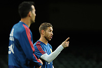 Spain's Sergio Ramos (R) during the pre-International Friendly training session of the Spain squad at the Principality Stadium, Cardiff, UK. Wednesday 10 October 2018