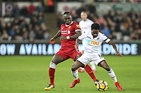 Sadio Mane of Liverpool & Nathan Dyer of Swansea City during the Premier League match between Swansea City and Liverpool at the Liberty Stadium, Swansea, Wales on 22 January 2018. Photo by Mark Hawkins / PRiME Media Images.