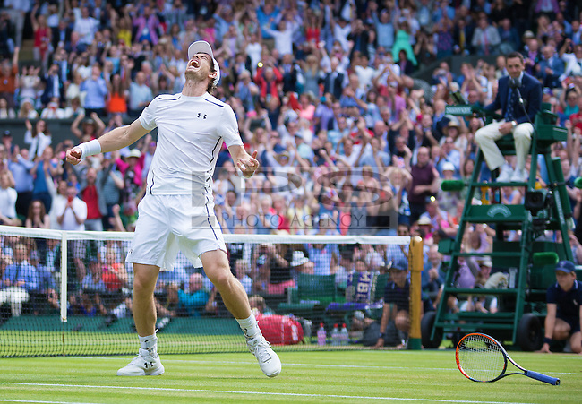 Andy Murrey (GBR) celebrates winning the mens final, Wimbledon Championships 2016, Day Fourteen, All England Lawn Tennis & Croquet Club, Church Rd, London, United Kingdom - 10th July 2016