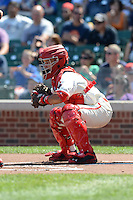 Catcher Gilberto Rodriguez (7) of Puerto Rico Baseball Academy in Juncos, Puerto Rico during the Under Armour All-American Game on August 24, 2013 at Wrigley Field in Chicago, Illinois.  (Mike Janes/Four Seam Images)