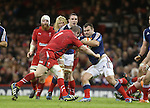 Wales prop Gethin Jenkins tackles French front rower Nicolas Mas.<br /> RBS 6 Nations 2014<br /> Wales v France<br /> Millennium Stadium<br /> 21.02.14<br /> <br /> &copy;Steve Pope-SPORTINGWALES