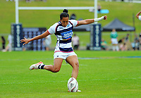 Tyla-Jane Wong kicks for goal during the Women's Pool match between Auckland and Hawkes Bay on day one of the 2018 Bayleys National Sevens at Rotorua International Stadium in Rotorua, New Zealand on Saturday, 13 January 2018. Photo: Dave Lintott / lintottphoto.co.nz