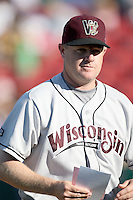 May 27, 2010: Manager Jeff Isom (33) of the Wisconsin Timber Rattlers at Elfstrom Stadium in Geneva, IL. The Timber Rattlers are the Midwest League Class A affiliate of the Milwaukee Brewers. Photo by: Chris Proctor/Four Seam Images
