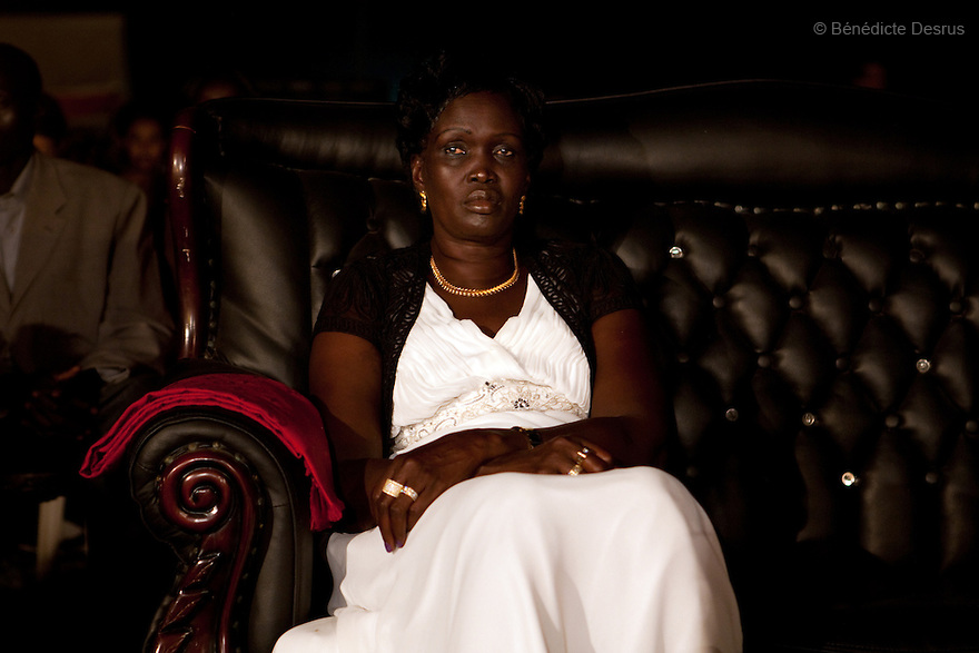 """4 december 2010 - Juba, Southern Sudan - Rebecca Nyadeng Garang, the wife of John Garang de Mabior the former President of Southern Sudan and First Vice President of Sudan, attends Miss Malaika South Sudan 2010 at Nyakuron Cultural Centre Juba. The contest featured 15 women from all 10 of South Sudan's states. The event was a way to show off their talents, traditions and culture. The competition was originally put together in 2005 by the southern Sudanese diaspora living in neighbouring Kenya. The word """"Malaika"""" means angel in Kiswahili, spoken widely in Kenya, the country where tens of thousands of southerners fled to, during ongoing conflicts. photo credit: Benedicte Desrus"""