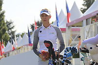 Nellie Korda (USA) on the par3 16th tee during Thursday's Round 1 of The Evian Championship 2018, held at the Evian Resort Golf Club, Evian-les-Bains, France. 13th September 2018.<br /> Picture: Eoin Clarke | Golffile<br /> <br /> <br /> All photos usage must carry mandatory copyright credit (&copy; Golffile | Eoin Clarke)