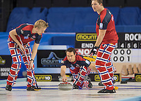 Glasgow. SCOTLAND. Norway's Thomas ULSRUD, releases his &quot;Stone&quot; during the  &quot;Semi Final&quot; Norway vs Switzerland Game. Le Gruy&egrave;re European Curling Championships. 2016 Venue, Braehead  Scotland<br /> Thursday  24/11/2016<br /> <br /> [Mandatory Credit; Peter Spurrier/Intersport-images]