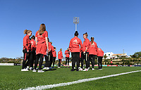 20200307  Parchal , Portugal : illustration picture showing the Belgian players on the pitch prior to thefemale football game between the national teams of Belgium called the Red Flames and Portugal on the second matchday of the Algarve Cup 2020 , a prestigious friendly womensoccer tournament in Portugal , on saturday 7 th March 2020 in Parchal , Portugal . PHOTO SPORTPIX.BE | DAVID CATRY