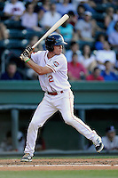 Left fielder Mike Meyers (2) of the Greenville Drive bats in a game against the Rome Braves on Monday, June 15, 2015, at Fluor Field at the West End in Greenville, South Carolina. Greenville won, 9-3. (Tom Priddy/Four Seam Images)