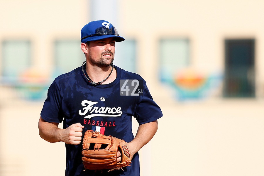 18 September 2012: France Florian Peyrichou is seen during Team France practice, at the 2012 World Baseball Classic Qualifier round, in Jupiter, Florida, USA.