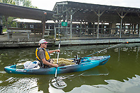 NWA Democrat-Gazette/BEN GOFF @NWABENGOFF<br /> Gary Dieker, a veteran from Siloam Springs, launches his kayak Saturday, Aug. 10, 2019, during the Heroes on the Water event at Lake Fayetteville.