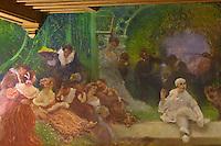 Europe/France/Aquitaine/64/Pyrénées-Atlantiques/Pays-Basque/Cambo-les-Bains: La Villa Arnaga, Musée Edmond Rostand: Le Grand Hall - Détail des peintures du Hall, par Gaston Latouche