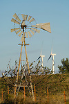 Wind damaged Aermotor windmill; wind power windmills, Oklahoma