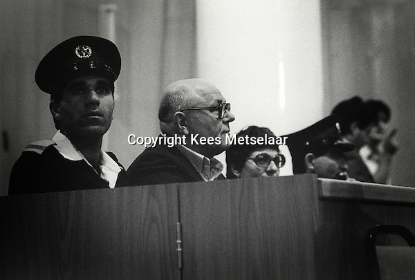 Israel, March and April 1987  ..A trip through Israel and its occupied territories during the first Intifada, Palestinian uprising in 1987.  John Demjanjuk in court in Jerusalem. he was later convicted for being a Nazi camp guard...Photo Kees Metselaar