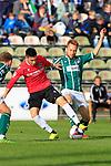 26.10.2019, Stadion Lohmühle, Luebeck, GER, Regionalliga Nord VFB Lübeck/Luebeck vs Hannover 96 II <br /> <br /> DFB REGULATIONS PROHIBIT ANY USE OF PHOTOGRAPHS AS IMAGE SEQUENCES AND/OR QUASI-VIDEO.<br /> <br /> im Bild / picture shows<br /> Sebastian Soto (Hannover 96 II) im Zweikampf gegen Dennis Hoins (VfB Luebeck)<br /> <br /> Foto © nordphoto / Tauchnitz