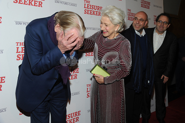 NEW YORK, NY - JANUARY 11:  Donald Sutherland, Helen Mirren, Paolo Virzi and Michael Barker  at The Leisure Seeker New York Screening at AMC Loews Lincoln Square in New York City on January 11, 2018. Credit: John Palmer/MediaPunch