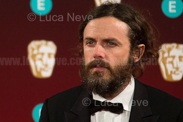 Casey Affleck.<br /> <br /> London, 12/02/2017. Red Carpet of the 2017 EE BAFTA (British Academy of Film and Television Arts) Awards Ceremony, held at the Royal Albert Hall in London.<br /> <br /> For more information please click here: http://www.bafta.org/